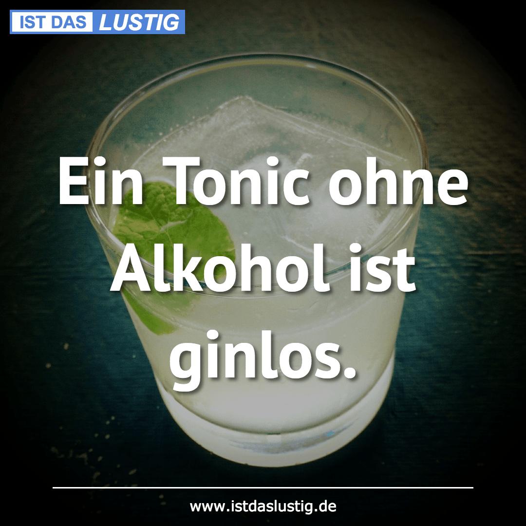 Lustiger BilderSpruch - Ein Tonic ohne Alkohol ist ginlos.