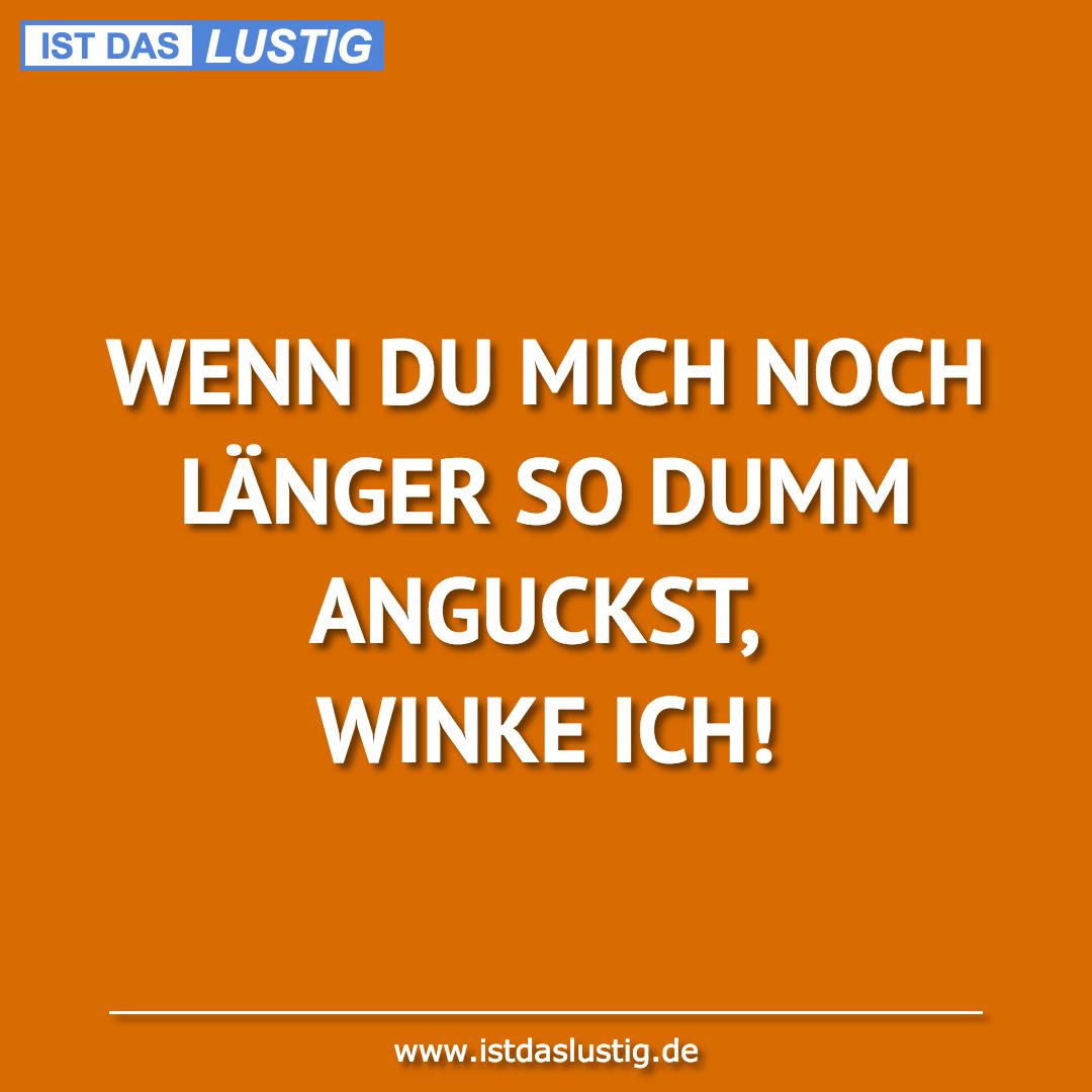 Lustiger BilderSpruch - WENN DU MICH NOCH LÄNGER SO DUMM ANGUCKST,...
