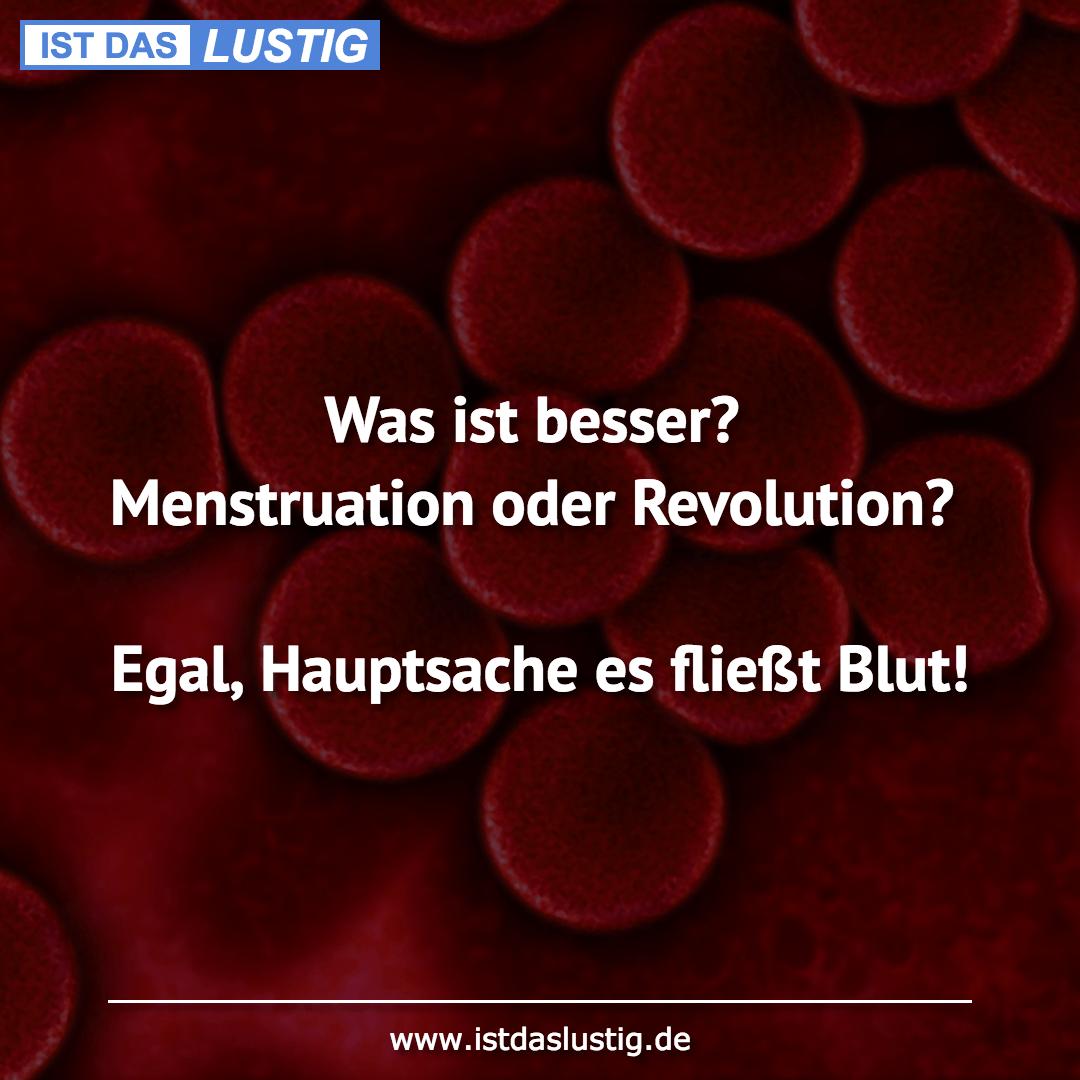 Lustiger BilderSpruch - Was ist besser? Menstruation oder Revolution?...