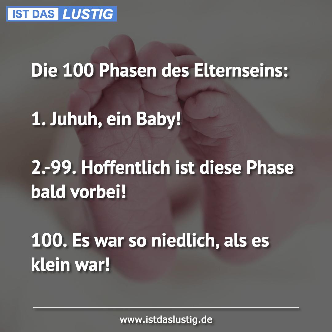 Lustiger BilderSpruch - Die 100 Phasen des Elternseins:  1. Juhuh, ein...