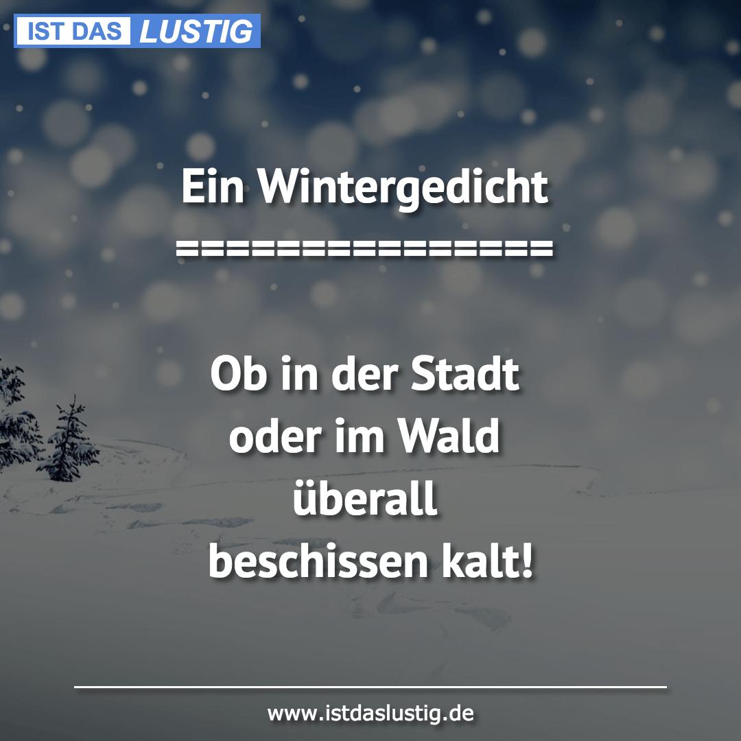Lustiger BilderSpruch - Ein Wintergedicht ===============  Ob in der...