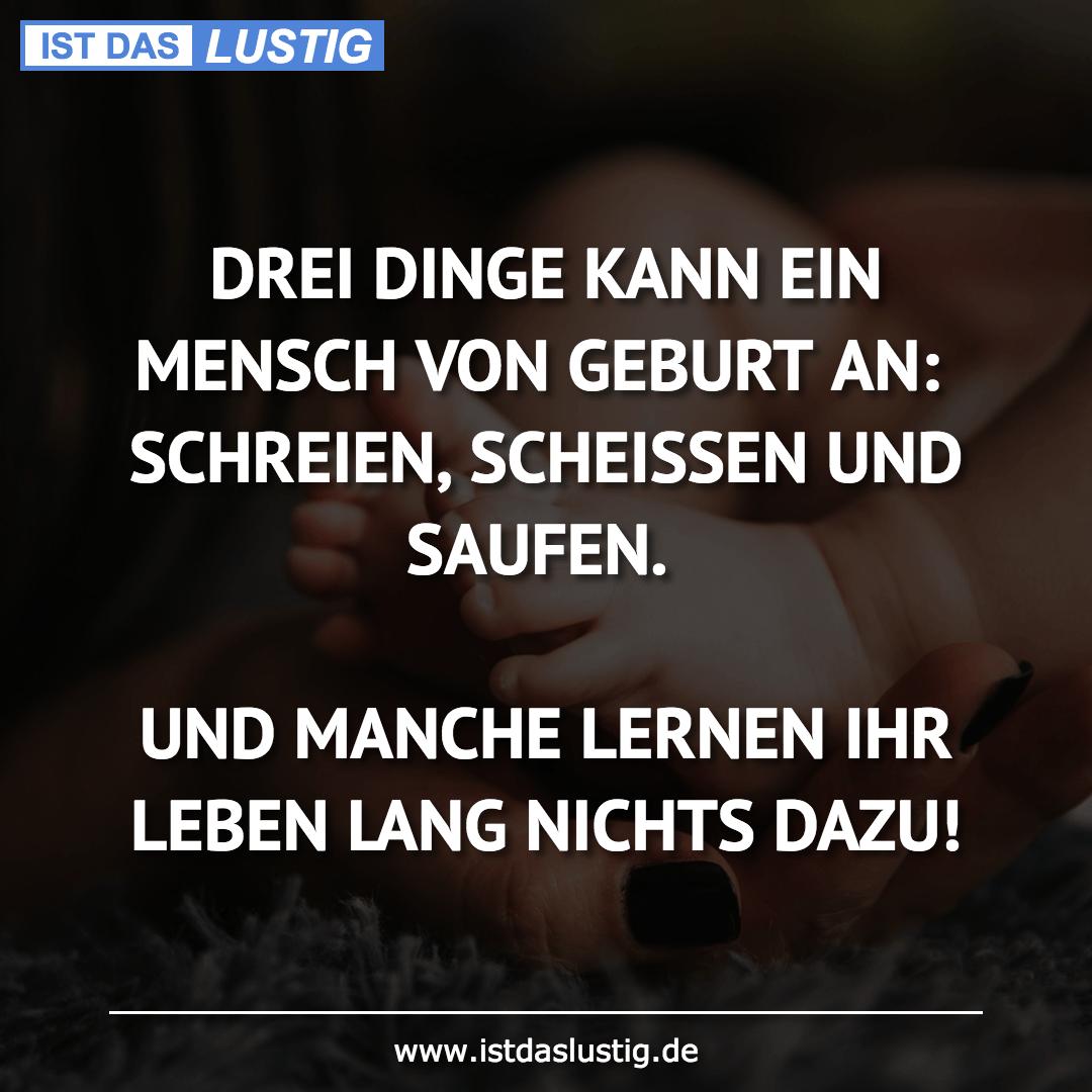 Lustiger BilderSpruch - DREI DINGE KANN EIN MENSCH VON GEBURT AN:...