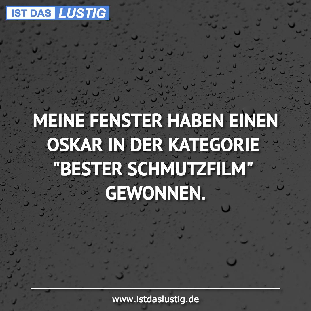 Lustiger BilderSpruch - MEINE FENSTER HABEN EINEN OSKAR IN DER...