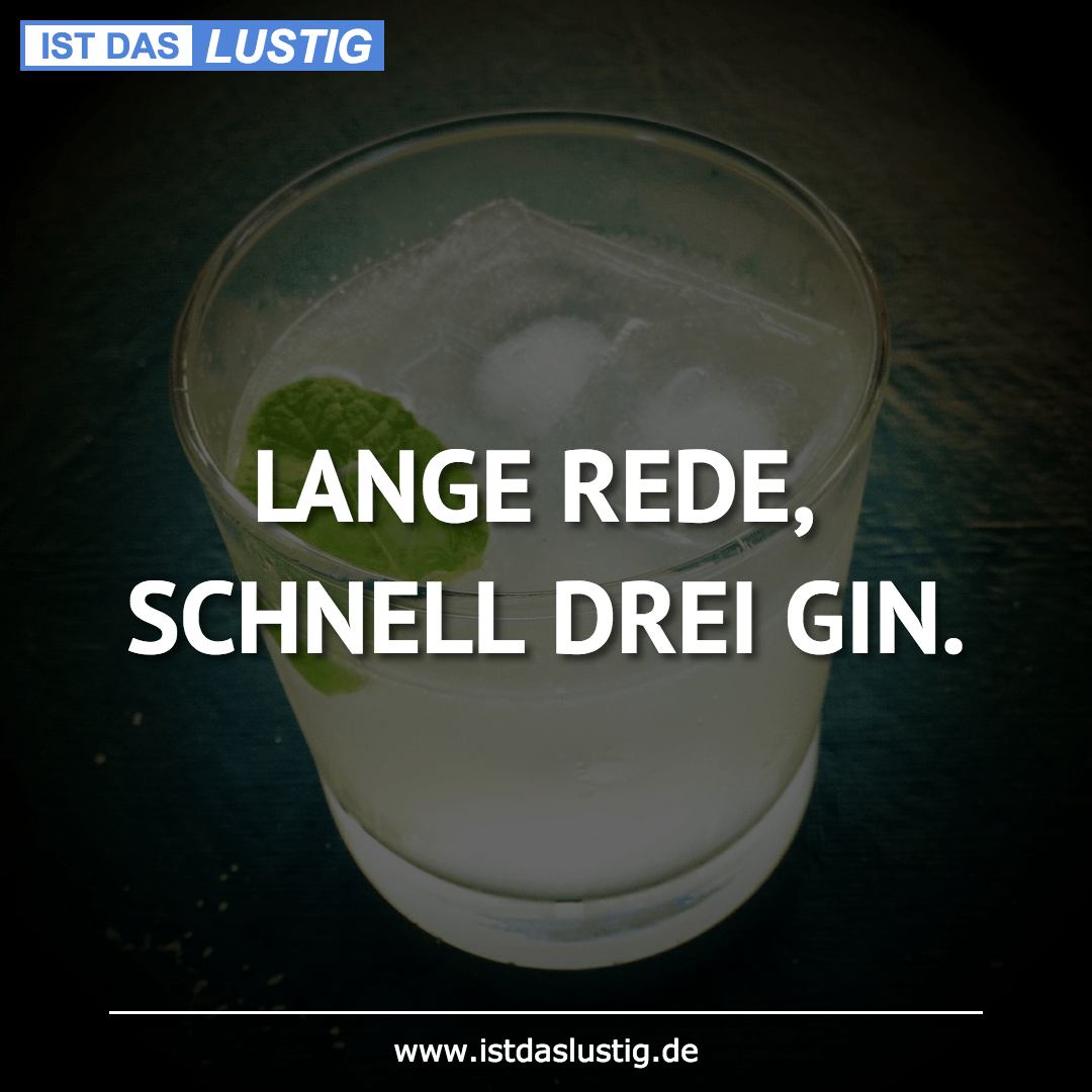 Lustiger BilderSpruch - LANGE REDE, SCHNELL DREI GIN.
