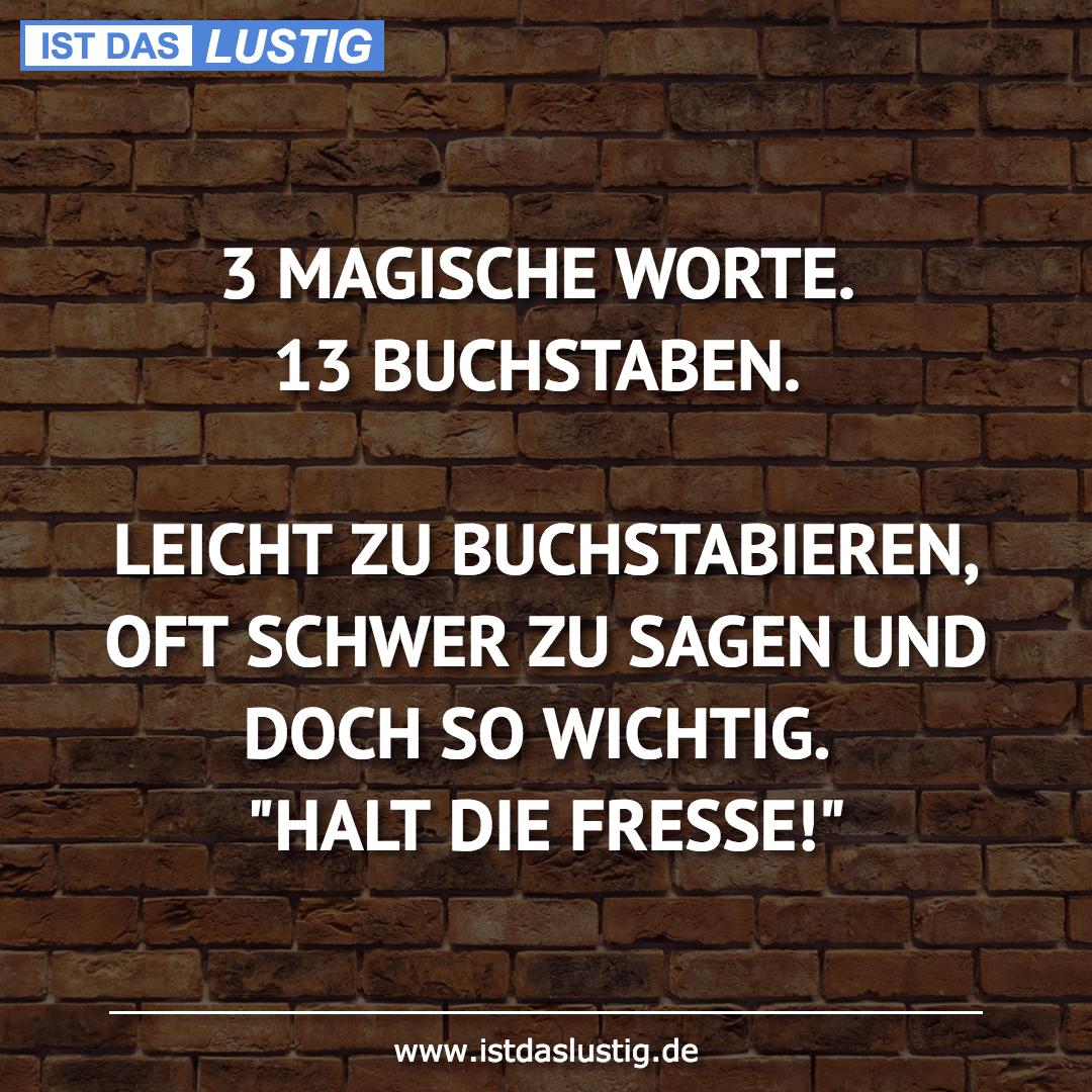 Lustiger BilderSpruch - 3 MAGISCHE WORTE. 13 BUCHSTABEN.  LEICHT ZU...