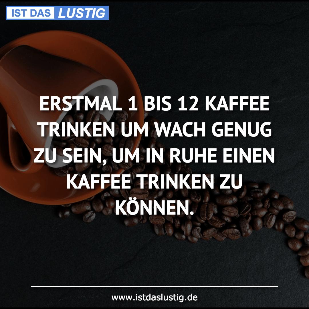 Lustiger BilderSpruch - ERSTMAL 1 BIS 12 KAFFEE TRINKEN UM WACH GENUG...