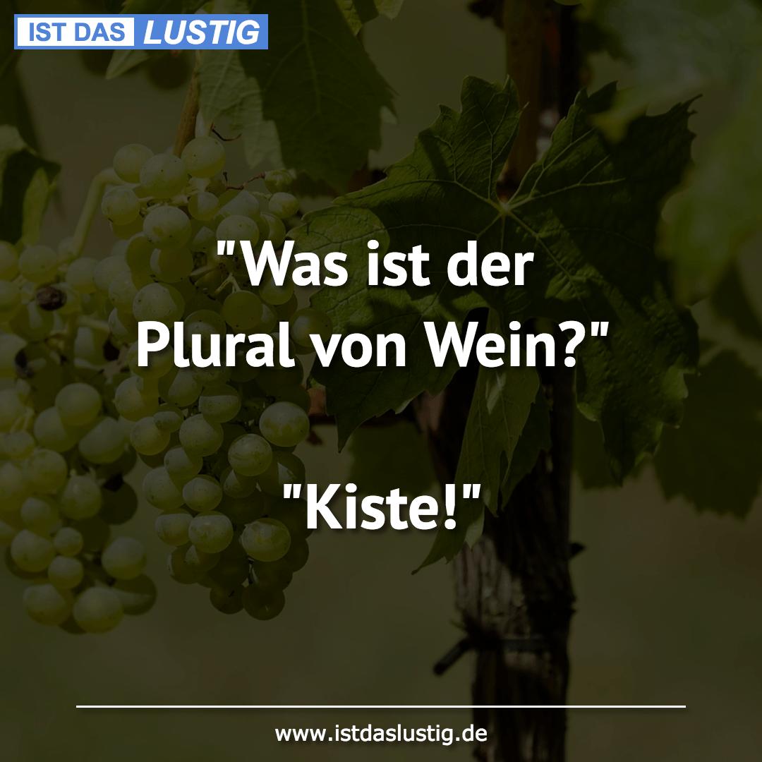"""Lustiger BilderSpruch - """"Was ist der Plural von Wein?""""  """"Kiste!"""""""