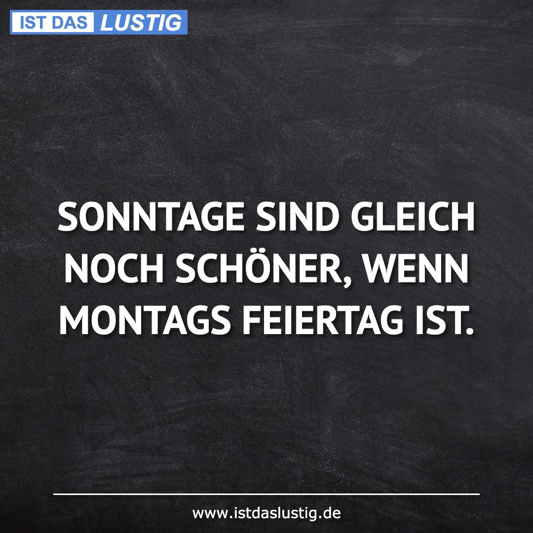 Lustiger BilderSpruch - SONNTAGE SIND GLEICH NOCH SCHÖNER, WENN MONTAGS...