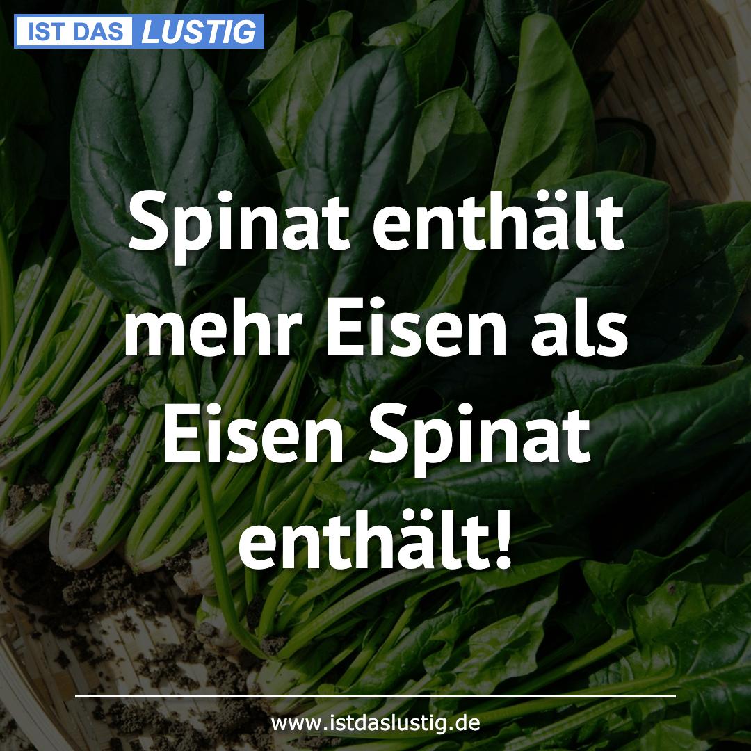 Lustiger BilderSpruch - Spinat enthält mehr Eisen als Eisen Spinat enth...