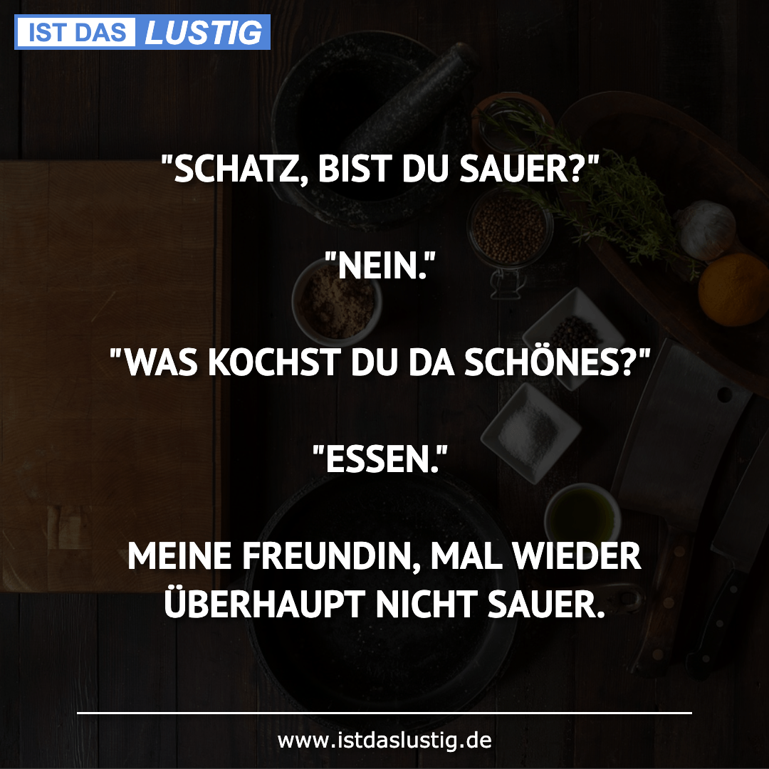 """Lustiger BilderSpruch - """"SCHATZ, BIST DU SAUER?""""  """"NEIN.""""  """"WAS KOCHST..."""