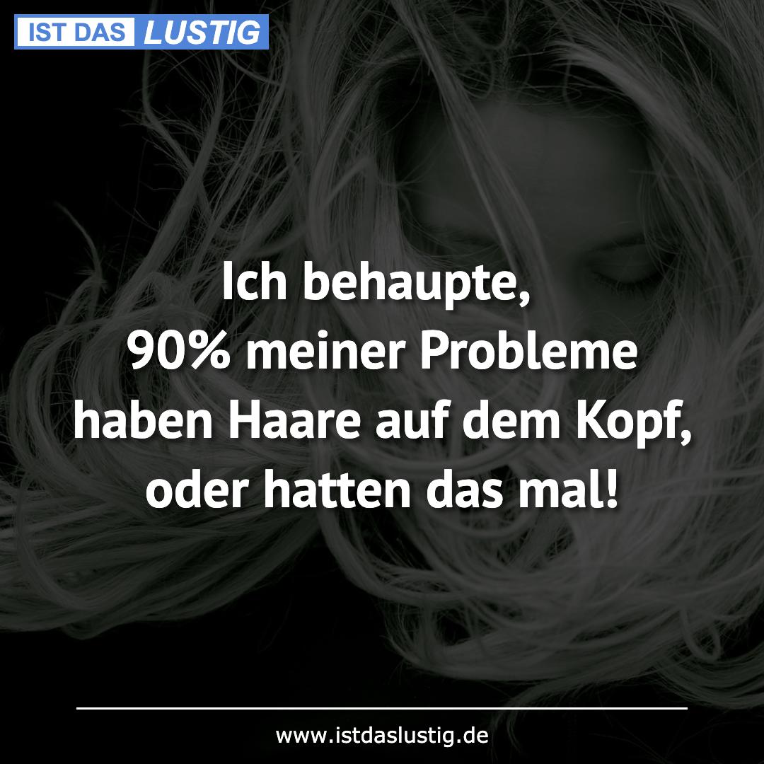 Lustiger BilderSpruch - Ich behaupte, 90% meiner Probleme haben Haare...