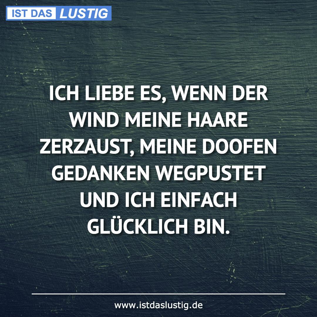 Lustiger BilderSpruch - ICH LIEBE ES, WENN DER WIND MEINE HAARE ZERZAUS...