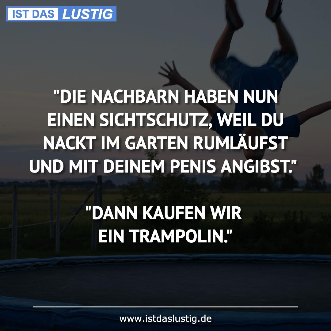 """Lustiger BilderSpruch - """"DIE NACHBARN HABEN NUN EINEN SICHTSCHUTZ, WEIL..."""