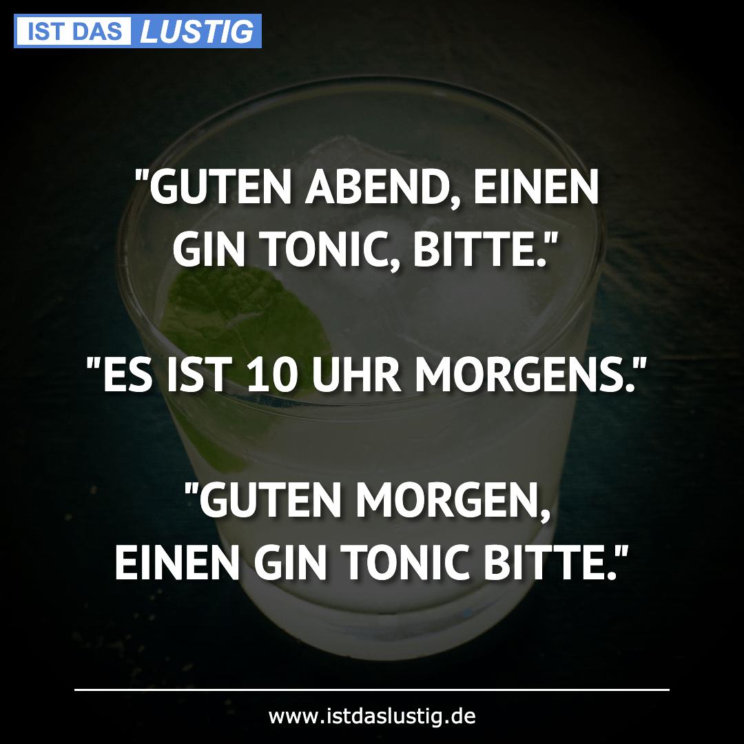 """Lustiger BilderSpruch - """"GUTEN ABEND, EINEN GIN TONIC, BITTE.""""  """"ES IST..."""