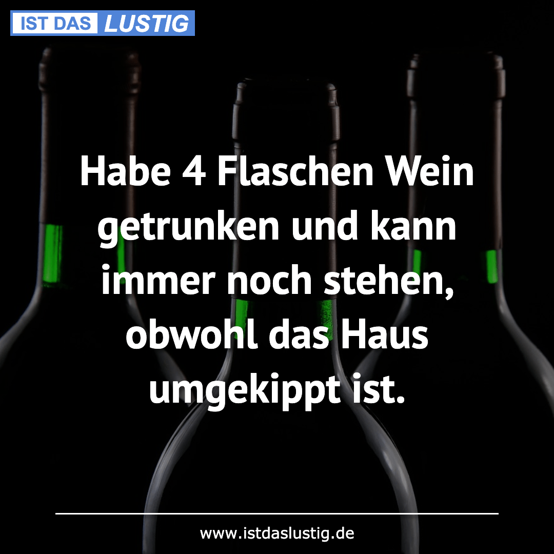 Lustiger BilderSpruch - Habe 4 Flaschen Wein getrunken und kann immer...