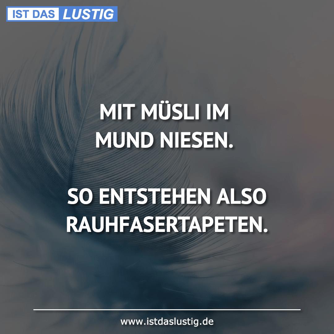 Lustiger BilderSpruch - MIT MÜSLI IM MUND NIESEN.  SO ENTSTEHEN ALSO...
