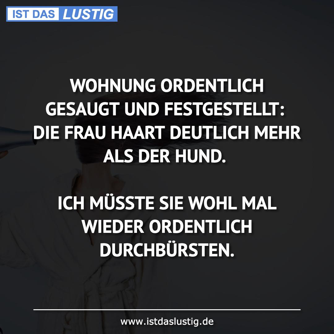Lustiger BilderSpruch - WOHNUNG ORDENTLICH GESAUGT UND FESTGESTELLT:...