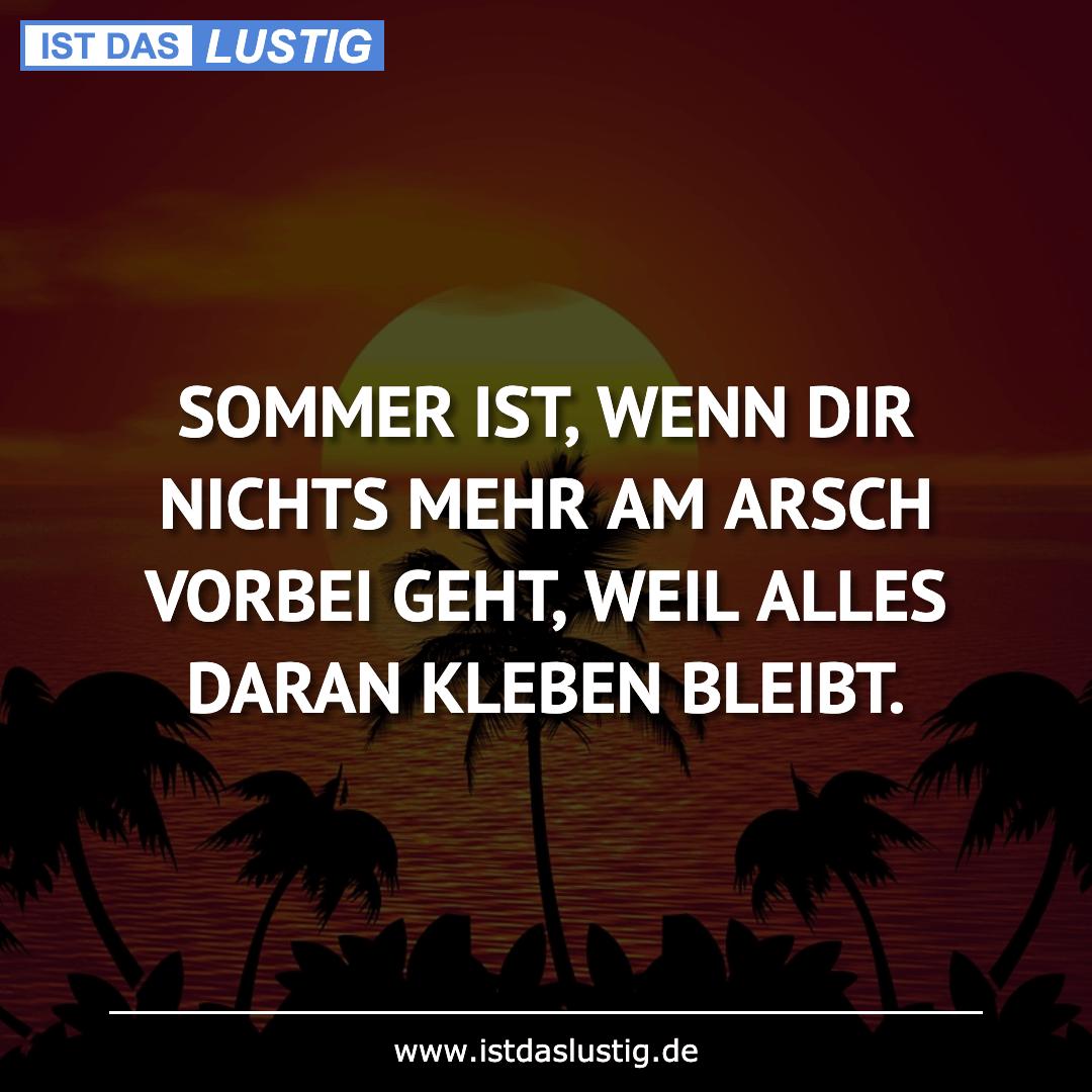 Lustiger BilderSpruch - SOMMER IST, WENN DIR NICHTS MEHR AM ARSCH...