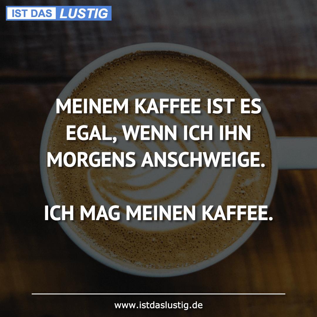 Lustiger BilderSpruch - MEINEM KAFFEE IST ES EGAL, WENN ICH IHN MORGENS...