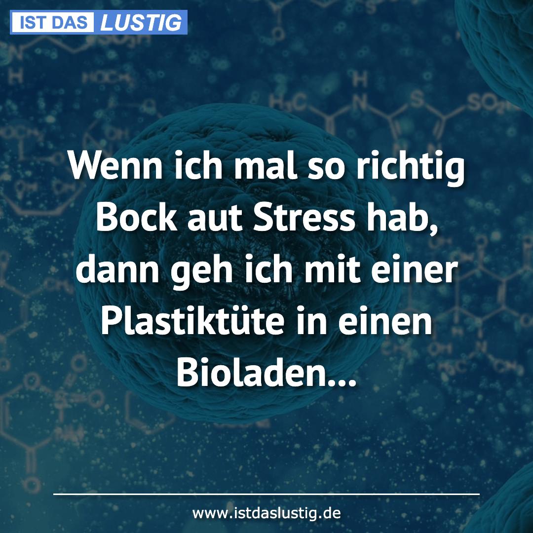Lustiger BilderSpruch - Wenn ich mal so richtig Bock aut Stress hab,...
