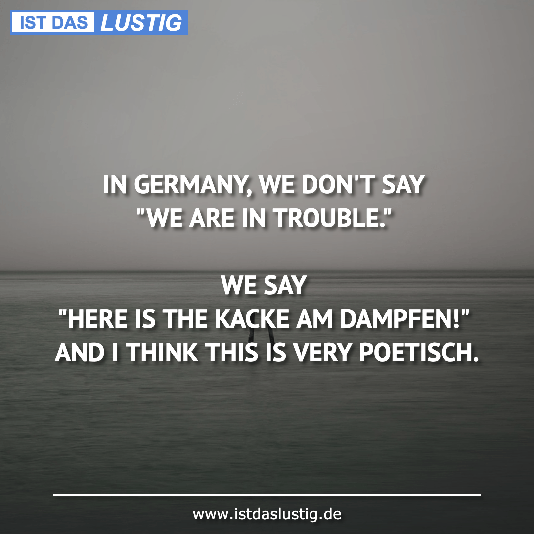 "Lustiger BilderSpruch - IN GERMANY, WE DON'T SAY ""WE ARE IN TROUBLE.""..."