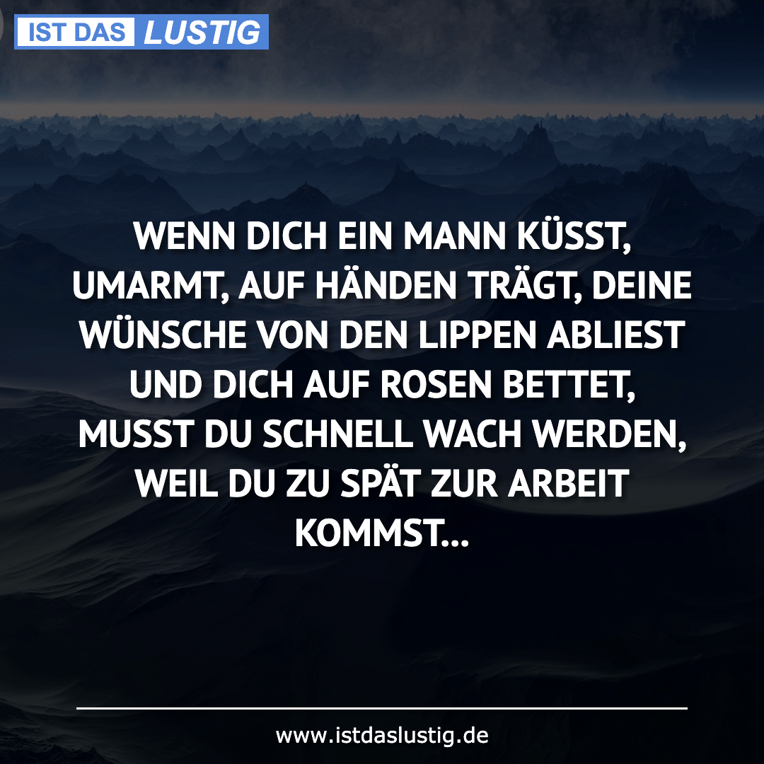 Lustiger BilderSpruch - WENN DICH EIN MANN KÜSST, UMARMT, AUF HÄNDEN TR...