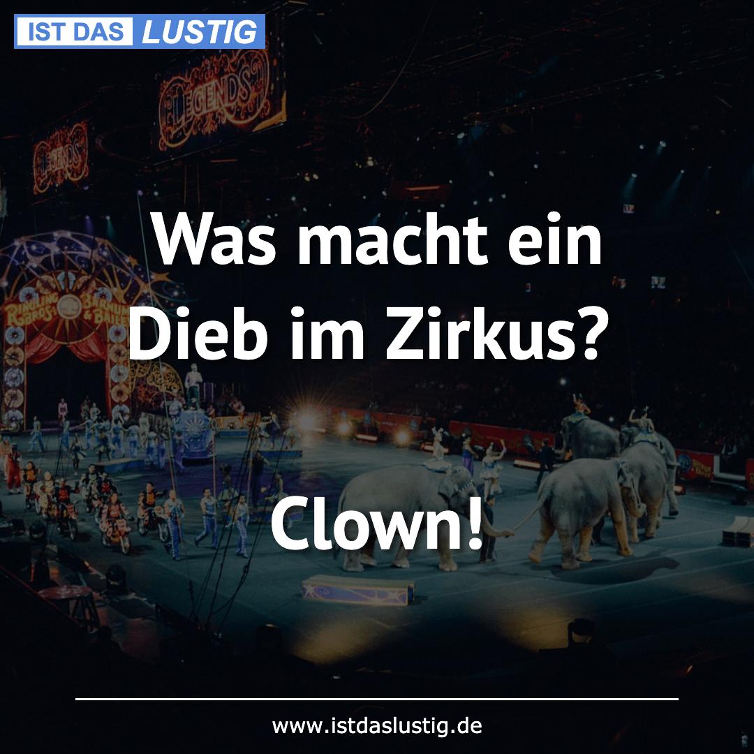Lustiger BilderSpruch - Was macht ein Dieb im Zirkus?  Clown!