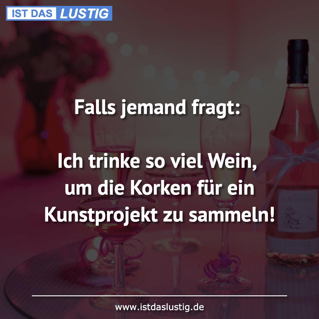 Lustiger BilderSpruch - Falls jemand fragt:  Ich trinke so viel Wein,...