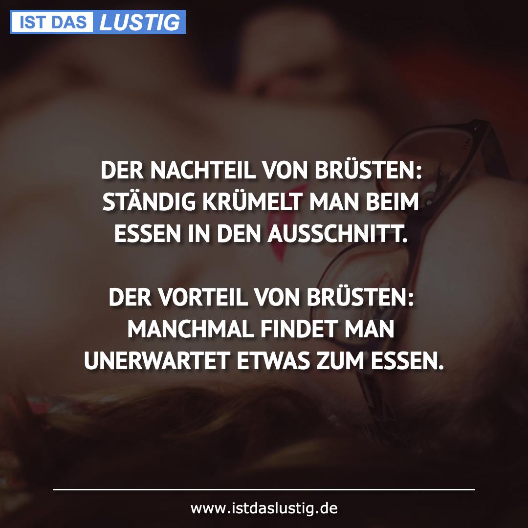 Lustiger BilderSpruch - DER NACHTEIL VON BRÜSTEN: STÄNDIG KRÜMELT MAN...