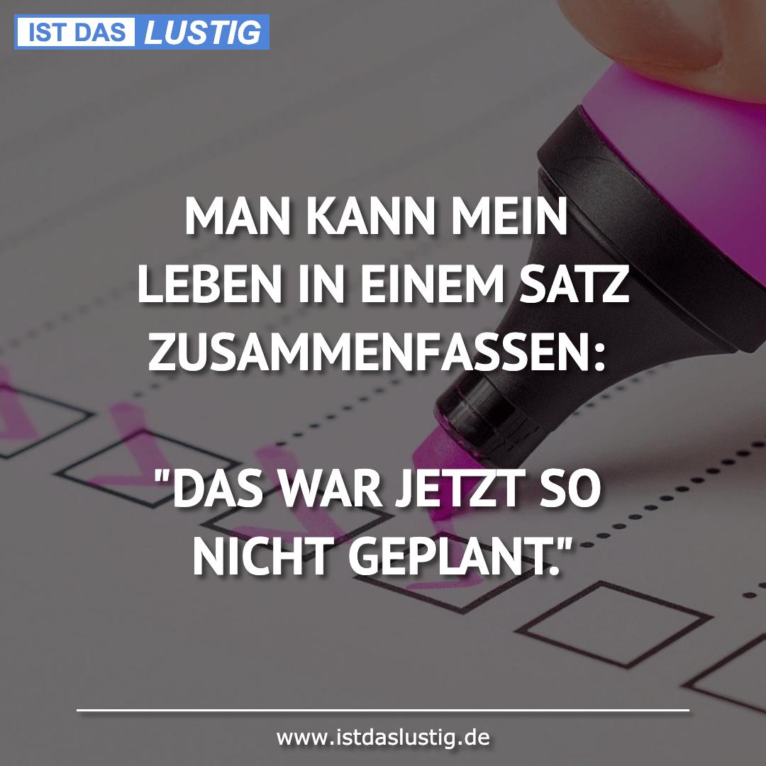 Lustiger BilderSpruch - MAN KANN MEIN LEBEN IN EINEM SATZ...