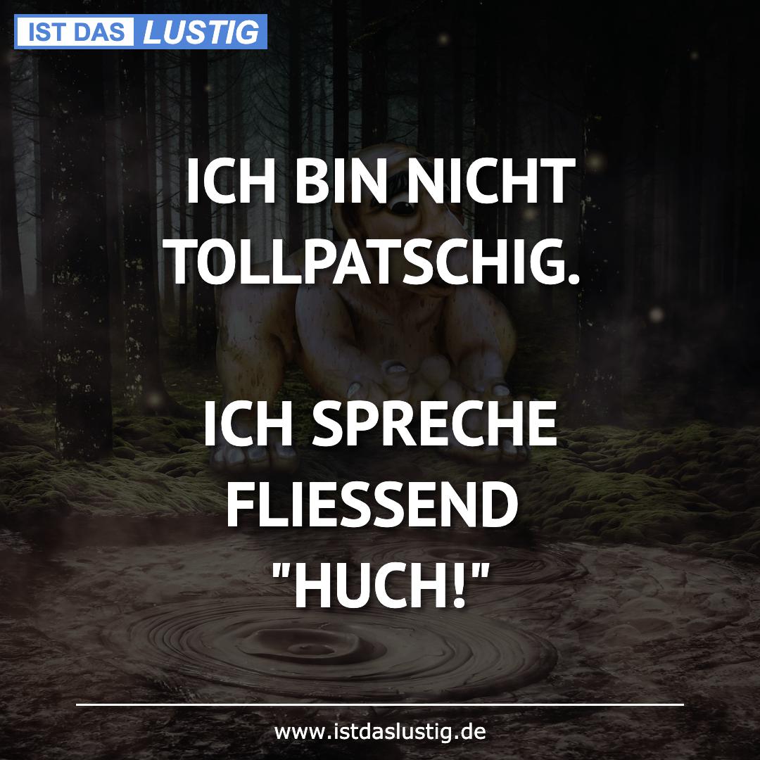 Lustiger BilderSpruch - ICH BIN NICHT TOLLPATSCHIG.  ICH SPRECHE FLIESS...