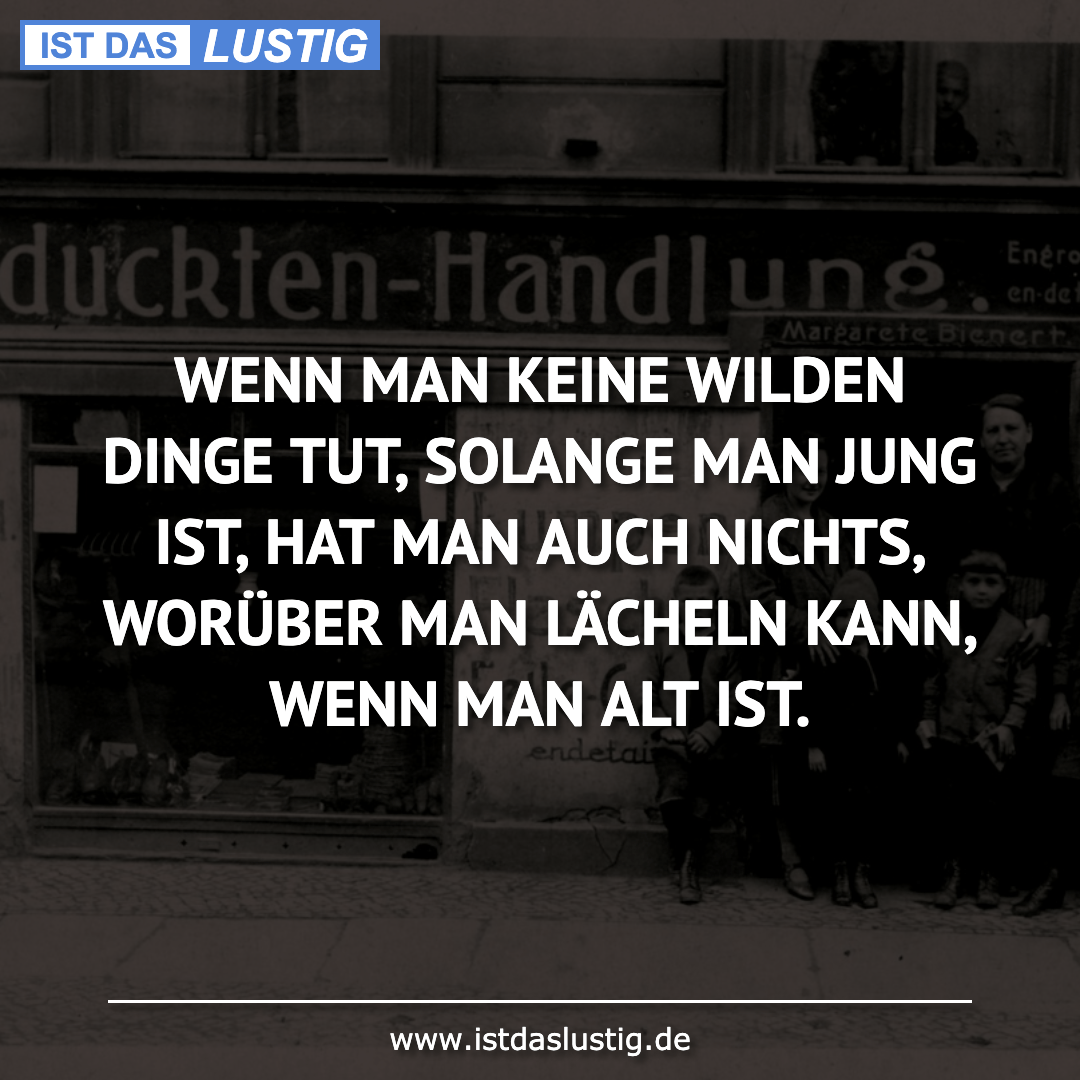 Lustiger BilderSpruch - WENN MAN KEINE WILDEN DINGE TUT, SOLANGE MAN JU...