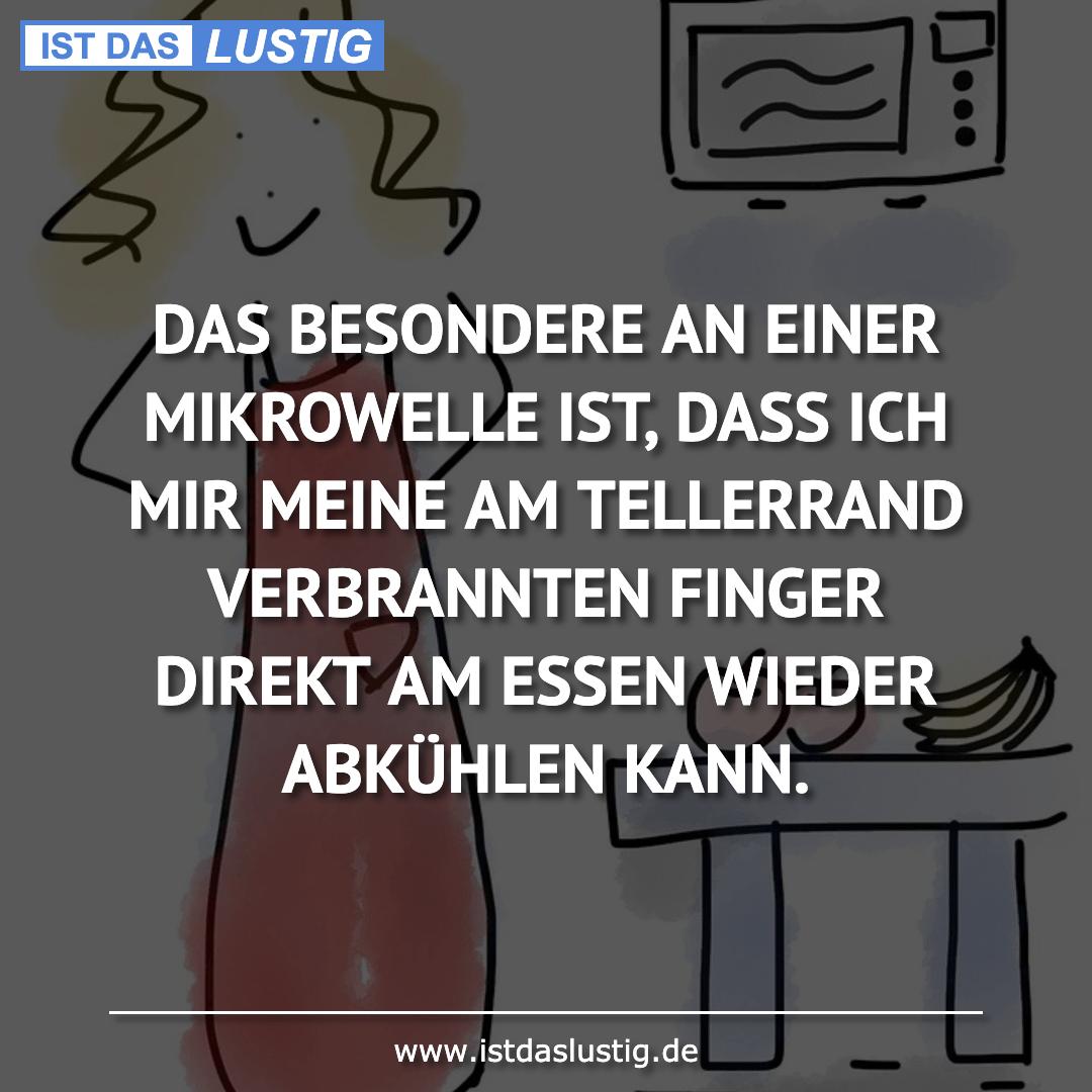 Lustiger BilderSpruch - DAS BESONDERE AN EINER MIKROWELLE IST, DASS ICH...